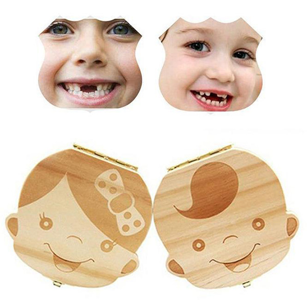 Wooden Baby Teeth Lanugo Umbilical Cord Collection Box Infant Souvenir Baby Teeth Box Baby Milk Teeth Collect English Case
