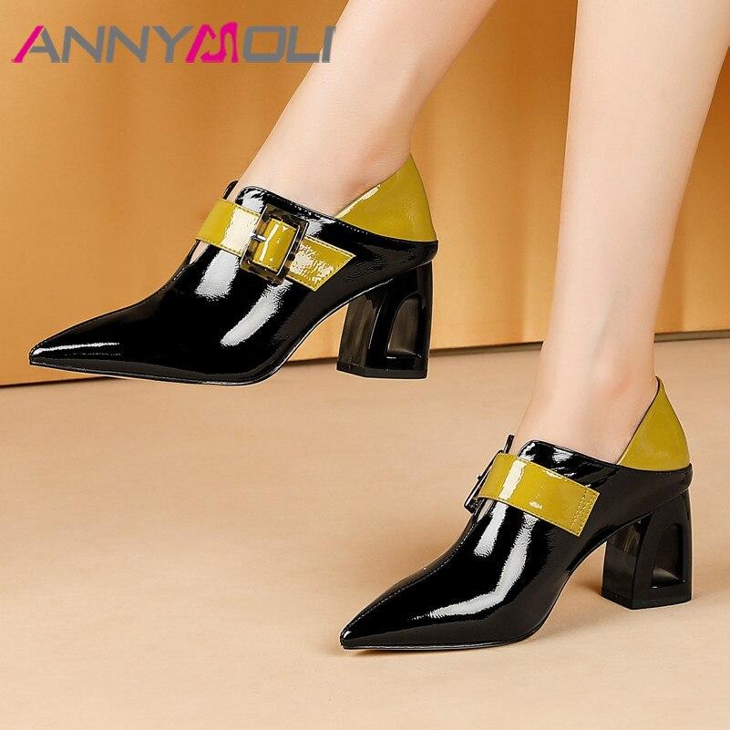 ANNYMOLI/женские туфли-лодочки на высоком каблуке; натуральная кожа; Пряжка; ажурная обувь на высоком каблуке; натуральная кожа; смешанные цвета...