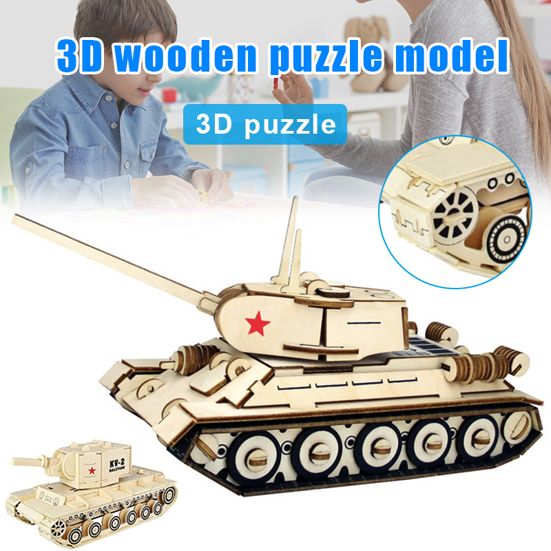 3D Wooden Puzzle Model Kit Military Tank
