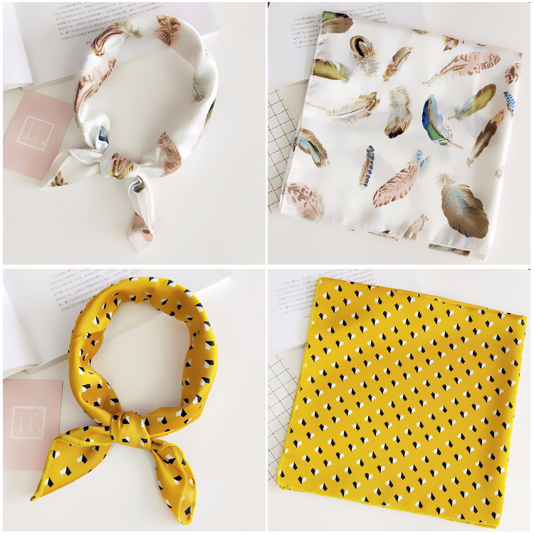 He6d6730ba7164486ae073c4cf27a4e9dH - Square Scarf Hair Tie Band For Business Party Women Elegant Small Vintage Skinny Retro Head Neck Silk Satin Scarf