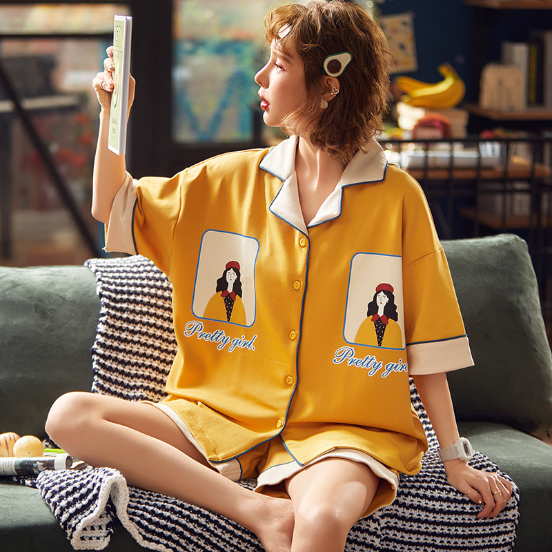 Pajamas Female Summer 6535 Knitted Cotton Short Sleeve Shorts Korean-style Women's Japanese Korean Thin Tracksuit Spring And Aut