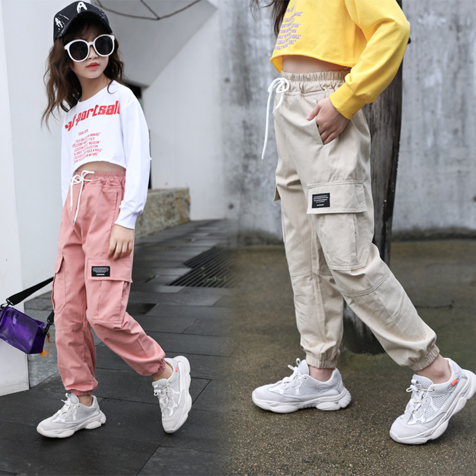 Cargo Pants For Girls Letter Sport Trousers Girl Patchwork Child Pants Casual Style Kid Clothes For Girls 6 8 10 12 14 6