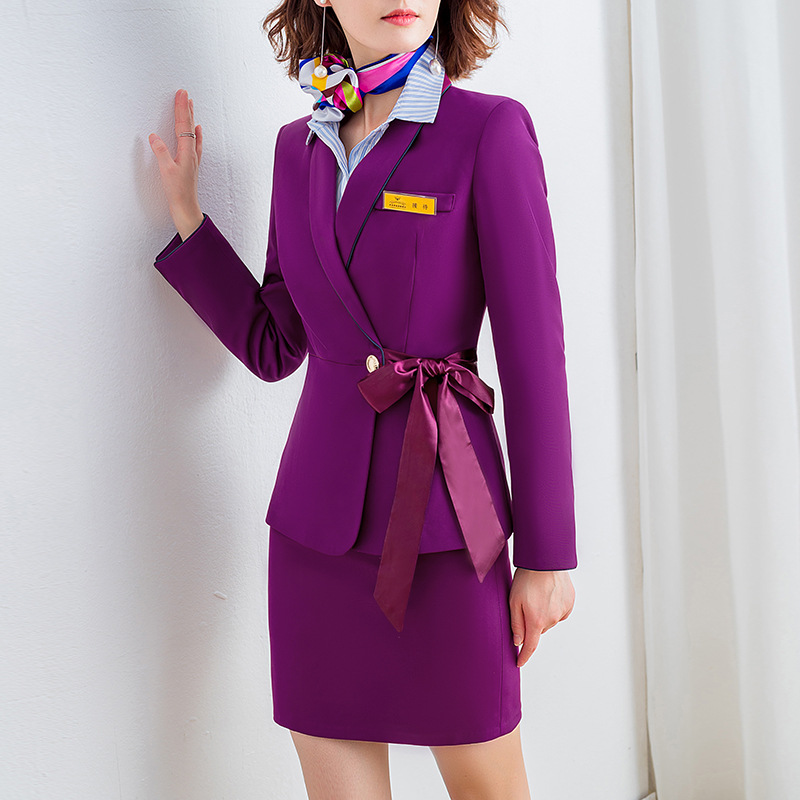 2020 New Stewardess Professional Wear High Quality Women's Skirt Suits Casual Elegant Feminine Blazer Jacket Office Two-piece