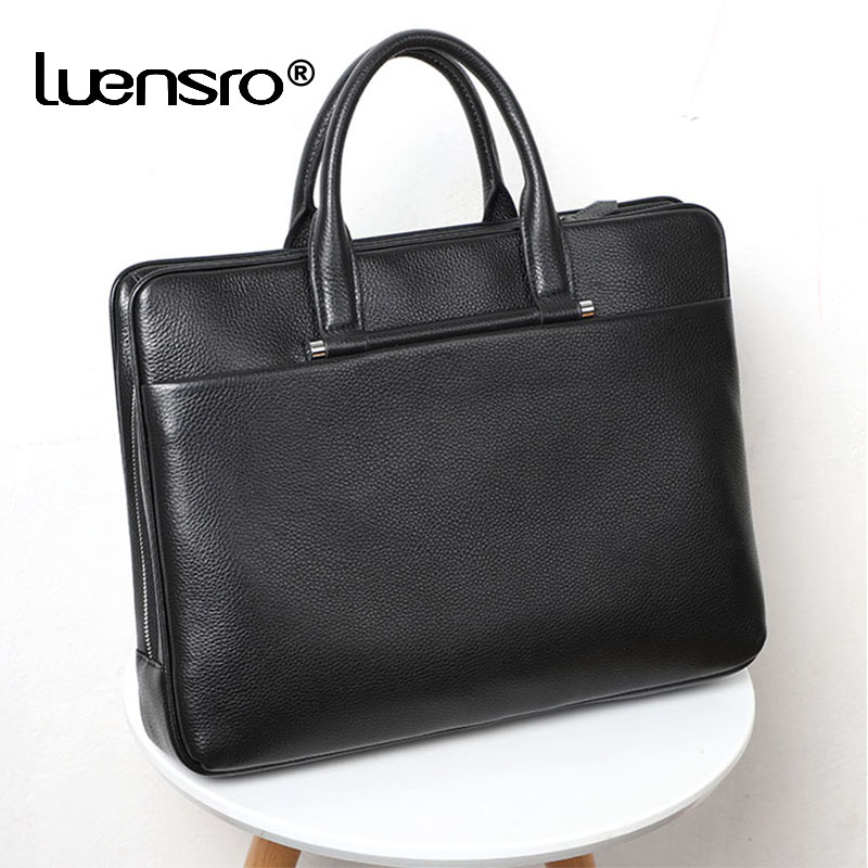 Large Capacity Briefcase Genuine Leather Laptop Bag High Quality Leather Men Bags Multiple Compartments Shoulder Bag Business