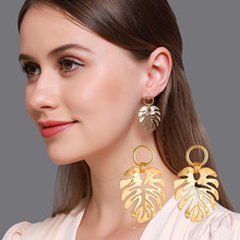 Hot Sale Gold Silver Color Leaf Earrings for Women Creative Metal Simple Drop Earrings Hollow Design Female Fashion Jewelry metal leaf layered drop earrings