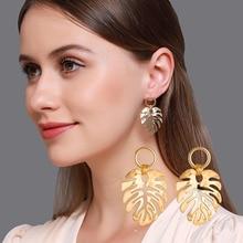 Hot Sale Gold Silver Color Leaf Earrings for Women Creative Metal Simple Drop Earrings Hollow Design Female Fashion Jewelry недорого