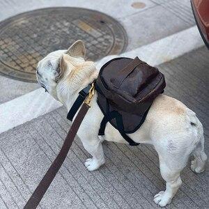 Поводок для собак для маленьких собак, кожаный рюкзак для кошек, для французского бульдога, собаки, школьная сумка, поводок для щенков LC0206