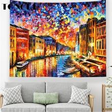 TONGDI Boho Retro Tapestry Elegant Oil Landscape Painting Printing Wall Hanging Mat Decor For Home Parlor  Bedroom Living Room