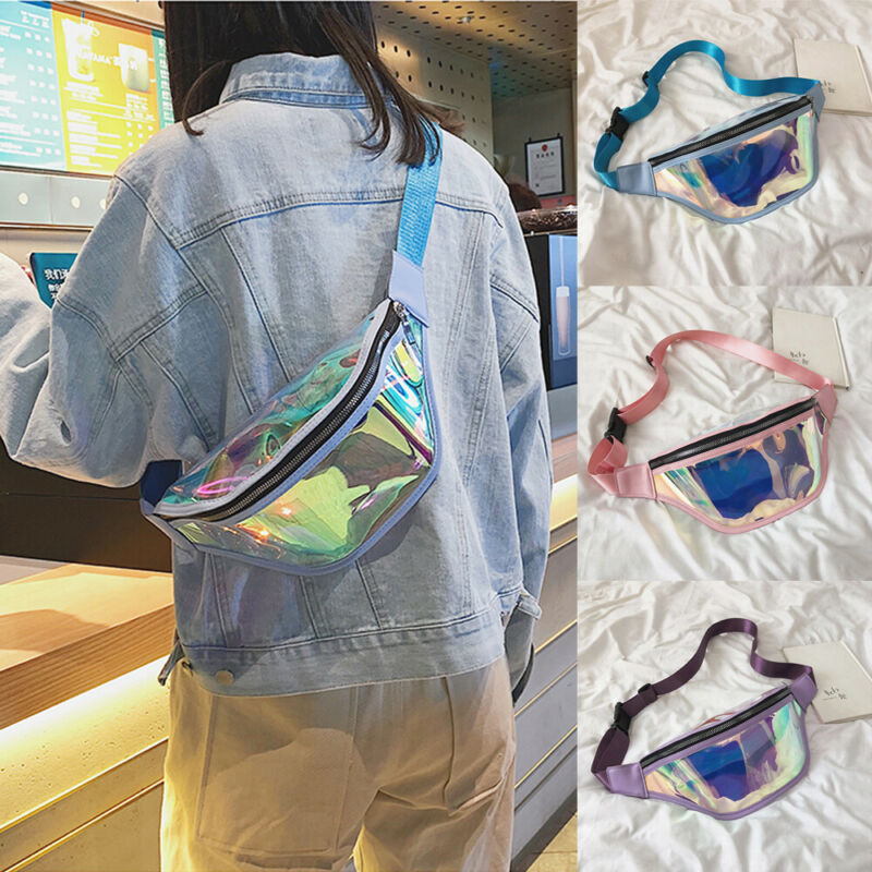 2019 Fashion Belt Bum Bag Waterproof Transparent Clear Punk Holographic Fanny Pack Laser Waist Pack For Women
