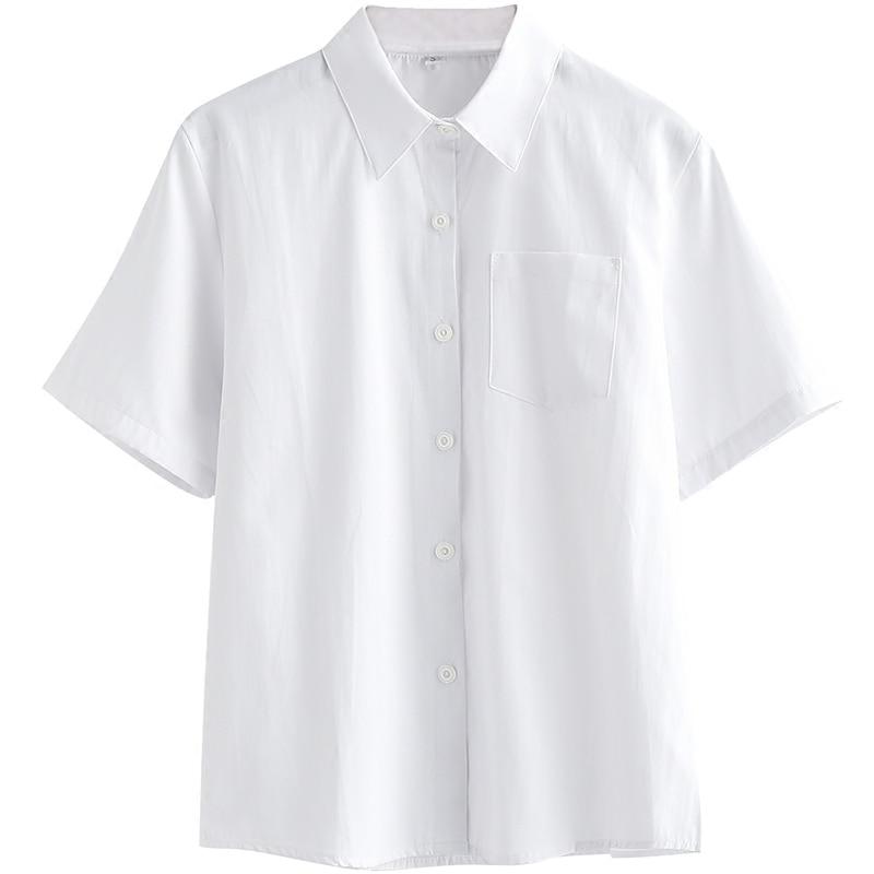 Image 3 - Japanese high school Schoolgirl Square collar short sleeve shirt Opacity solid white uniform shirtswhite uniform shirtwhite shirtcollar shirt -