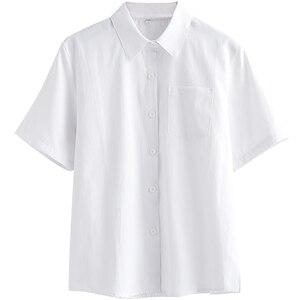 Image 3 - Japanese high school Schoolgirl Square collar short sleeve shirt Opacity solid white uniform shirts