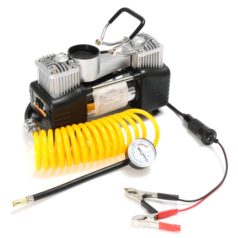 150PSI 60L 12V Air Compressor 150PSI 4WD Car Tire Inflator Pump Portable Kit Pressure Pump Dual Cylinder Pressure Pump Tool Sets