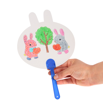9pcs Cartoon Painting Fan DIY Toys For Children Animal Shape Color Graffiti Art Craft Toy Creative Drawing Kids Handmade 3d clone shape pin art toy sculpture creative changeable pinscreen needle mold for children adult yjs dropship