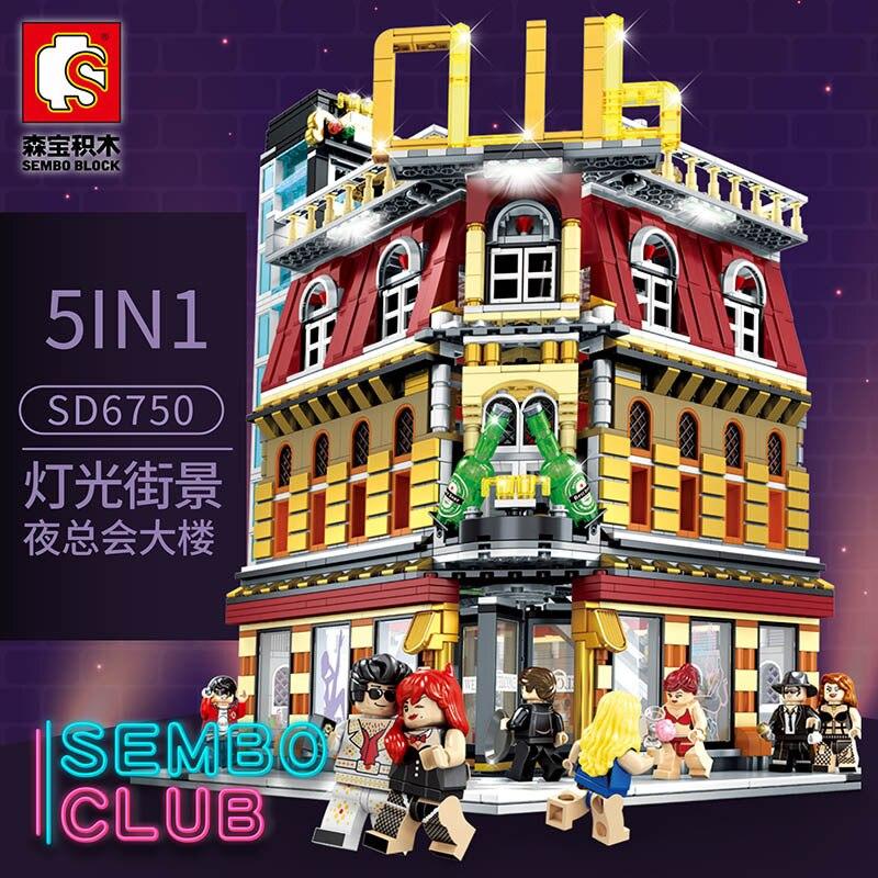 Baby Semp Sd6991 5-in-1 Nightclub USB Light Street View Series Assembled Building Blocks Were Educational Toy