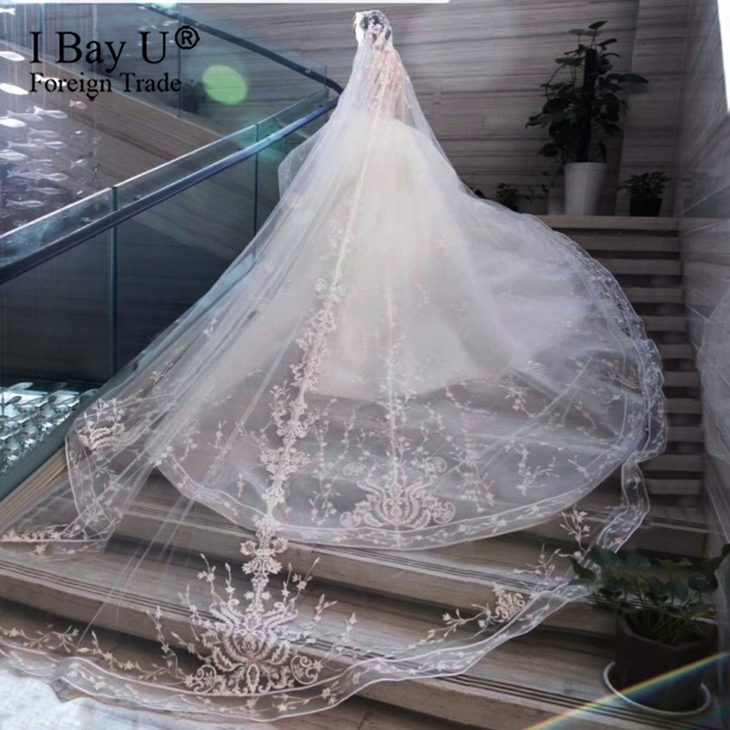 Real Photos 3 Meters Long Wedding Veil With Comb One Layer 3.5M Luxury Bling Glued Sequined Cathedral Bridal Veil Accessories