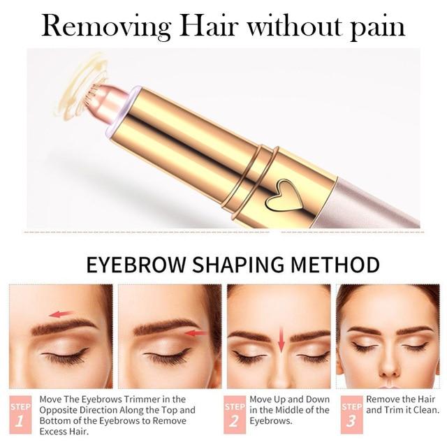 USB 150mAh Electric Eyebrow Trimmer Pen Hair Remover Eyebrow Razor/Epilator Painless Multifunction Eye Brow Trimmer Face Shaver 5