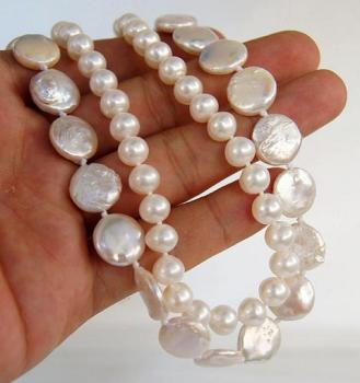 Unique Pearls jewellery Store White Round Coin Real Freshwater Pearl Necklace Charming Women Gift Fine Jewelry