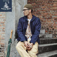 SauceZhan US Navy Deck Jacket Man Jeans Jacket Water Wash Denim Jacket Men Jean Jacket Men Vintage Blue Cotton Free Shipping