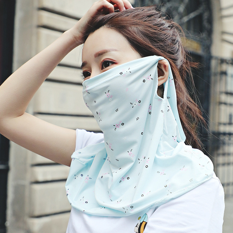 2020 New Summer Women's Silk Masks Neck Guard Decoration Fashion Mask Thin Cool Floral-Print Breathable Sun-resistant Face Mask