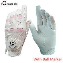 Женские кожаные перчатки для гольфа, для женщин, левая рука, правая, Weathersof Grip, для улицы, дышащие, мягкие, анти-скользящие перчатки с шариковым маркером, 1 шт