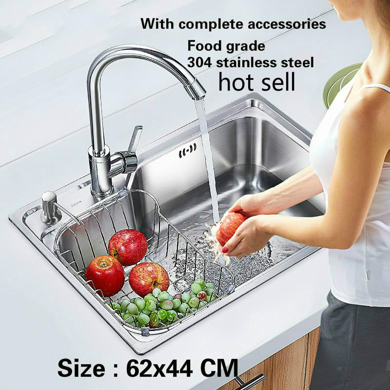 Free Shipping Food Grade 304 Stainless Steel Kitchen Sink 0.8 Thick Ordinary Single Trough Washing Dishes Hot Sell 620x440 MM