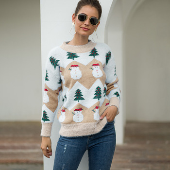 Ugly Sweaters Christmas Women's 2020 New Autumna Winter Christmas Tree Snowman Pullover Sweater Fashionable Female new autumn winter knitted sweaters women christmas theme cute snowman and christmas tree ugly christmas sweater pullover women