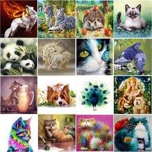 5D DIY w pełni okrągłe charakter krajobraz obraz zwierzęcia haft diamentowy tygrys kot mozaika cross stitch mozaika do dekoracji domu pasta na ścianę