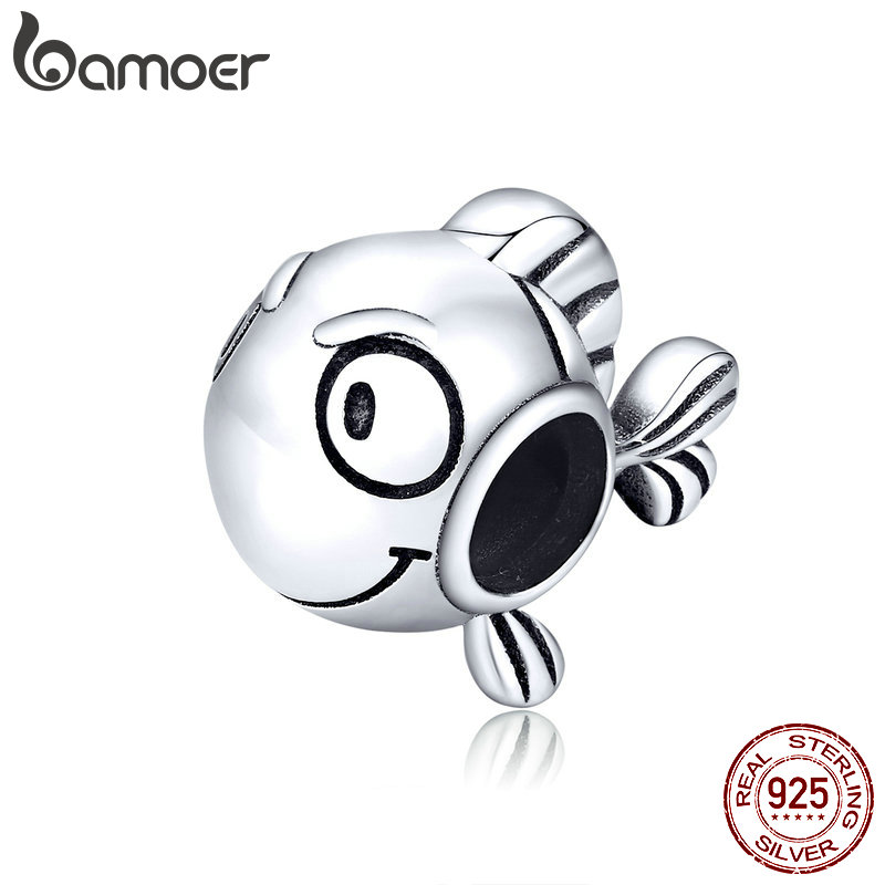 Bamoer Marine Adventure Series 925 Sterling Silver Jewelry Clownfish Metal Charm Fit Original Bracelet DIY Accessories SCC1477