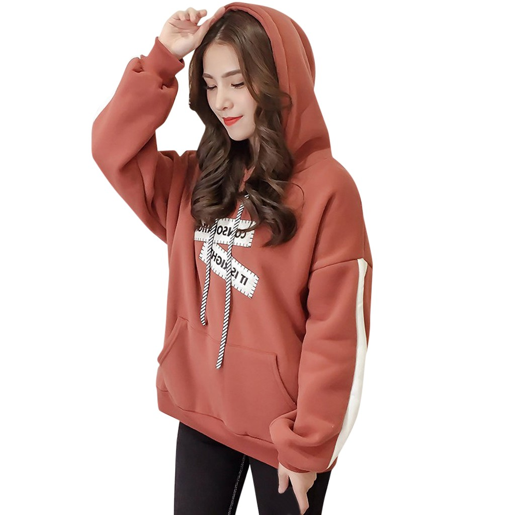 JAYCOSIN Fashion Women Letter Printing Long Sleeve Sweatshirt Hoodie Top Casual Chic Soft Comfortable Elegant Blouse