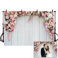 Mehofond Hochzeit Wand Hintergrund Rosa Blume Weiß Vorhang Zeremonie Geburtstag Party Fotografie Hintergründe Foto Studio Decor Prop