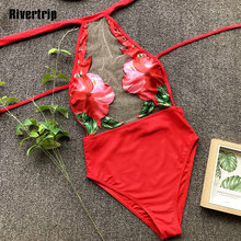 Rivertrip Halter One Piece Swimsuit Floral Print Swimwear Women Sexy Mesh Beach Wear Push Up Bathing Suit 2019 Bathers