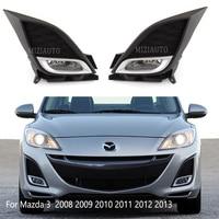 Car Front Bumper Fog lights kits For Mazda 3 BL 2008 2009 2010 2011 2012 2013 wire switch chrome Fog Lamp foglight Modification