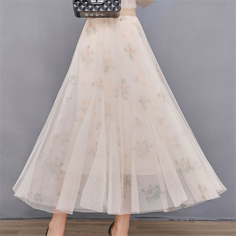 Fashion Mesh Print Skirt Pleated Mid-Length Elastic Female High-Waist Veil Long Skirts Women Elegant Korean Sweet Midi Skirt