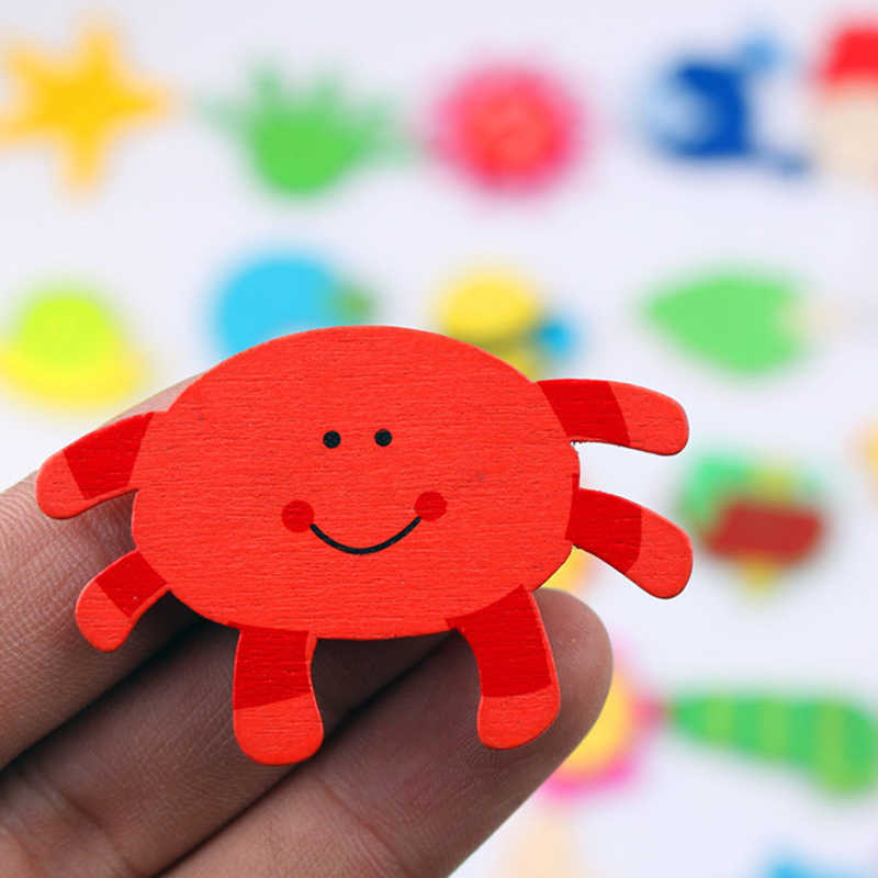 Colorful Wooden Animal Cartoon Fridge Stickers Kids Toys Refrigerator Magnet for Home Children Baby Education Toy Gift 12pcs