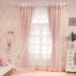 Cortinas para sala de estar de estilo europeo y americano cortinas oscuras altas para niños habitación romántica de princesa para niñas