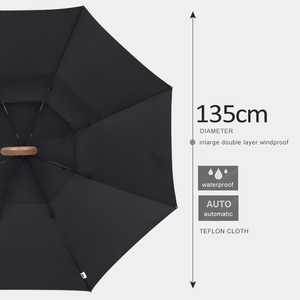 Image 2 - Parachase 135Cm Lange Steel Paraplu Regen Vrouwen Grote Houten Handvat Clear Paraplu Zakenlui Winddicht Double Layer Paraguas