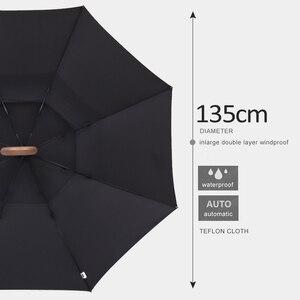 Image 2 - Parachase 135cm uzun saplı şemsiye yağmur kadınlar büyük ahşap saplı açık şemsiye iş erkek rüzgar geçirmez çift katmanlı Paraguas