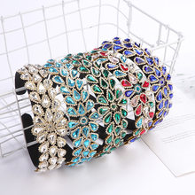 Colorful Baroque Rhinestones Headbands for Women Luxury Crystal Diamante Tiara Hairband Headdress Women Bridal Hair Accessories