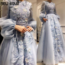 Muslim Blue Embroidery Party Prom Dresses 2020 Robe De Soiree Customize Beading Lace Evening Dress For Dubai Arabic kaftans Gown