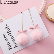Japanese and Korean fashion long bow Ball Earrings sweet Ball Earrings temperament long mink hair Earrings