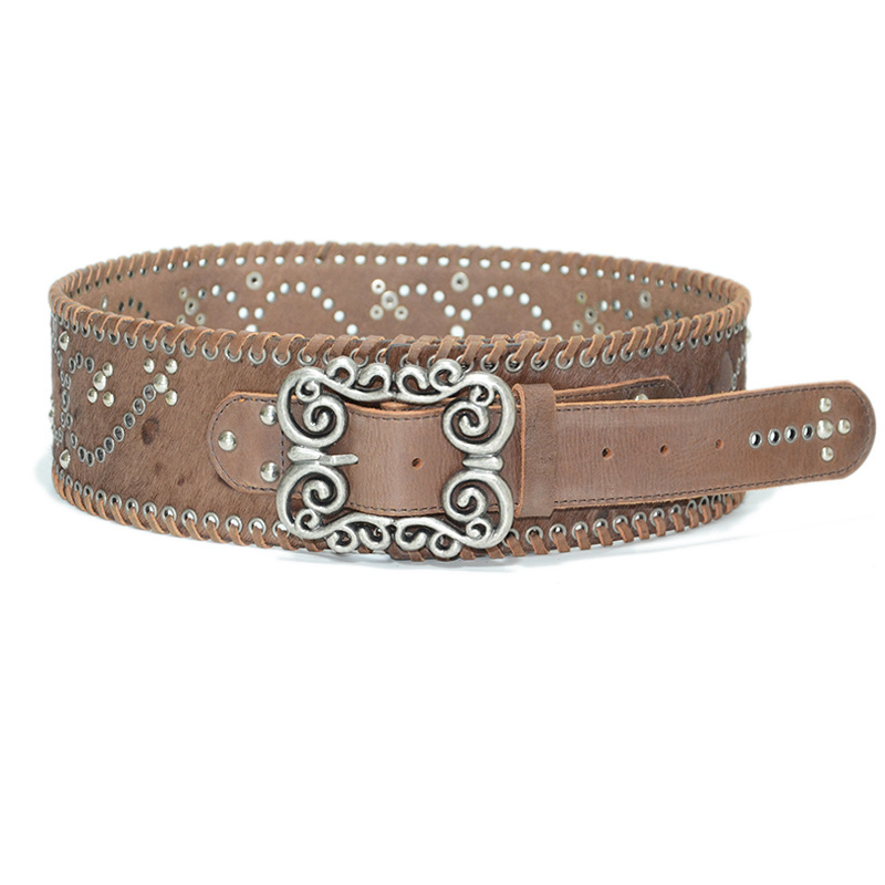 Retro Cowskin Genuine Leather For Women Belts High Quality With Carved Design