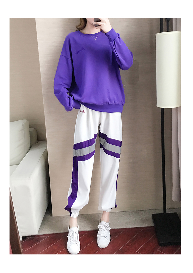 Autumn Winter Purple Two Piece Sets Women Long Sleeve Sweatshirt And Pants Suits Casual Fashion Korean Bf Style 2 Piece Sets 43
