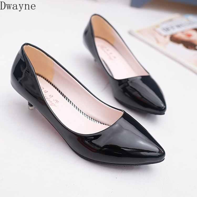 3 Cm tacón bajo tacones altos Stiletto salvaje zapatos de mujer Simple comodidad trabajo zapatos boca baja puntiagudos solo zapatos de moda bombas