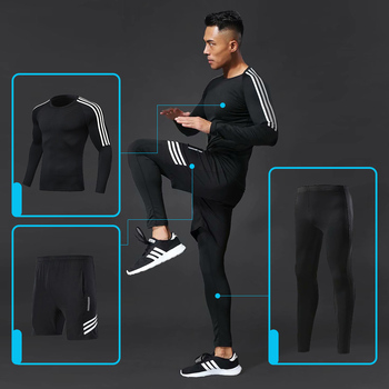 3pcs / set Male Workout Fitness Compression Gym Sports Suit Clothes Running Jogging Sport Wear Exercise Workout Tights 3pcs set men s gym workout sports suit fitness compression clothes running jogging sport wear exercise workout tights