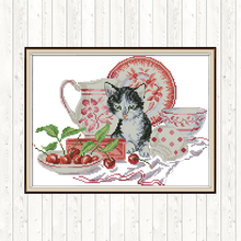 Joy Sunday Cross Stitch Cat Patterns Aida Fabric for Embroidery Kit 14CT 11CT DMC DIY Printed Canvas Counted Needlework Sets