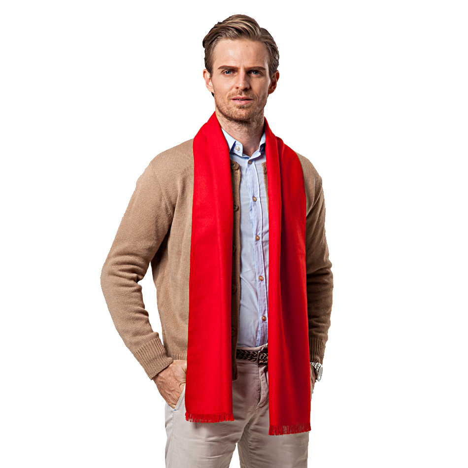 Christmas Gift Long Red Grey Brown Red Cashmere Scarf Men Autumn Winter Warm Wool Luxury Brand Scarves Male Bufandas Pure Color