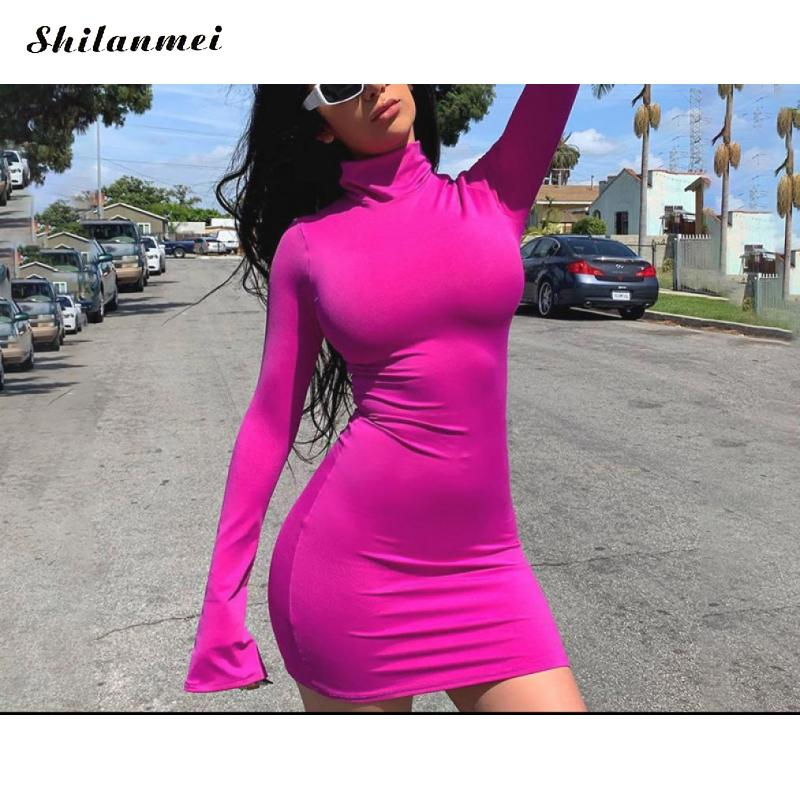 <font><b>2019</b></font> Fashion Bodycon <font><b>Dress</b></font> Long Sleeve Turtleneck <font><b>Mini</b></font> <font><b>Dresses</b></font> Women <font><b>Runway</b></font> Design Ladies Ruched <font><b>Club</b></font> Sheath <font><b>Sexy</b></font> Bandage <font><b>Dress</b></font> image