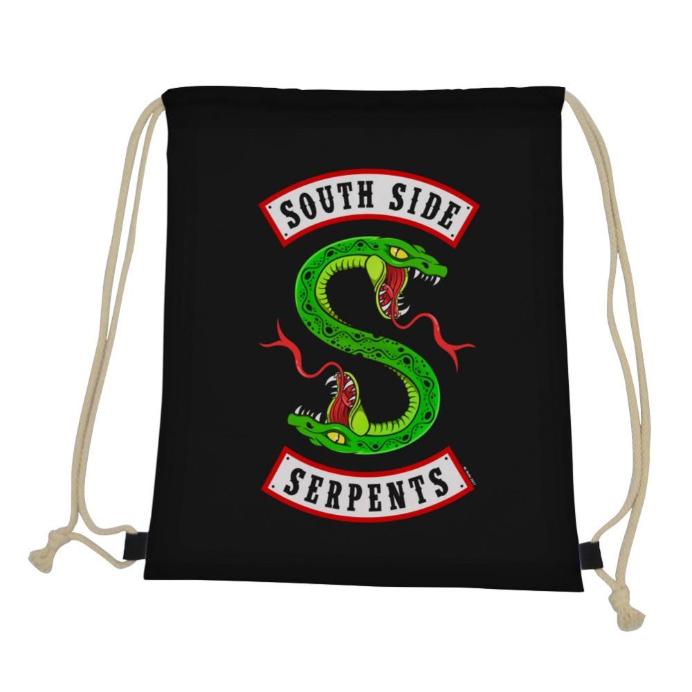 ThiKin Gym Sack Riverdale Southside Serpents Men Drawstring Bag 3D Cartoon Anime Print Casual String Shoulder Backpack Men