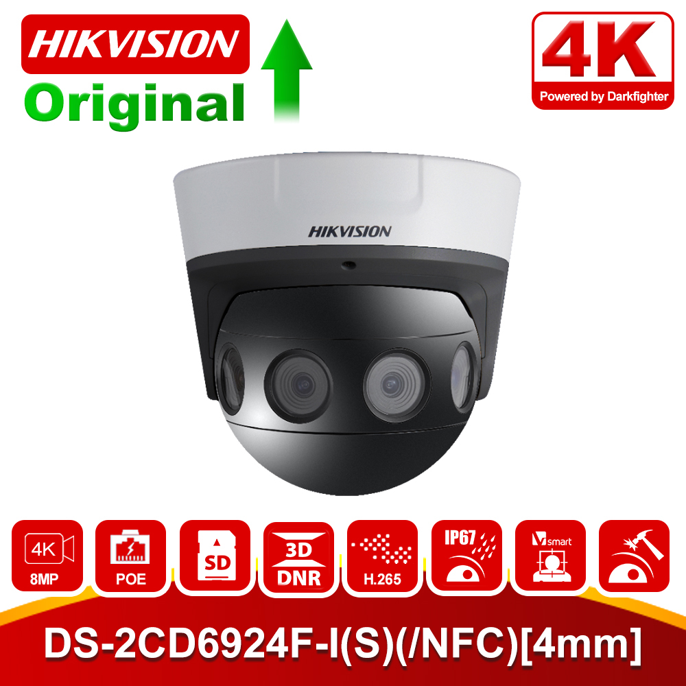 Original Hikvision 8 <font><b>MP</b></font> 4K PanoVu Serie Panorama Dome Kamera DS-2CD6924F-I (S) (/NFC) [4mm] 4 stücke 4mm Objektiv PoE IP Kamera image
