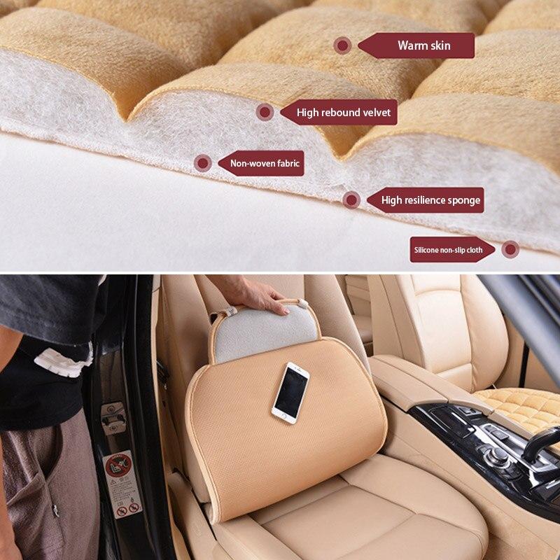 Winter Universal Plush Keep Warm Anti Slip Car Seat Lattice Cushion Cover Protector Mat